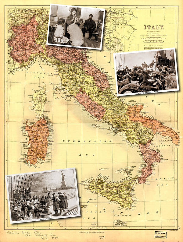 Statue Of Liberty Poster featuring the photograph Vintage Map Of Italy Genealogy Map by Karla Beatty