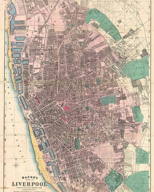 Liverpool Poster featuring the drawing Vintage Map Of Liverpool England by CartographyAssociates
