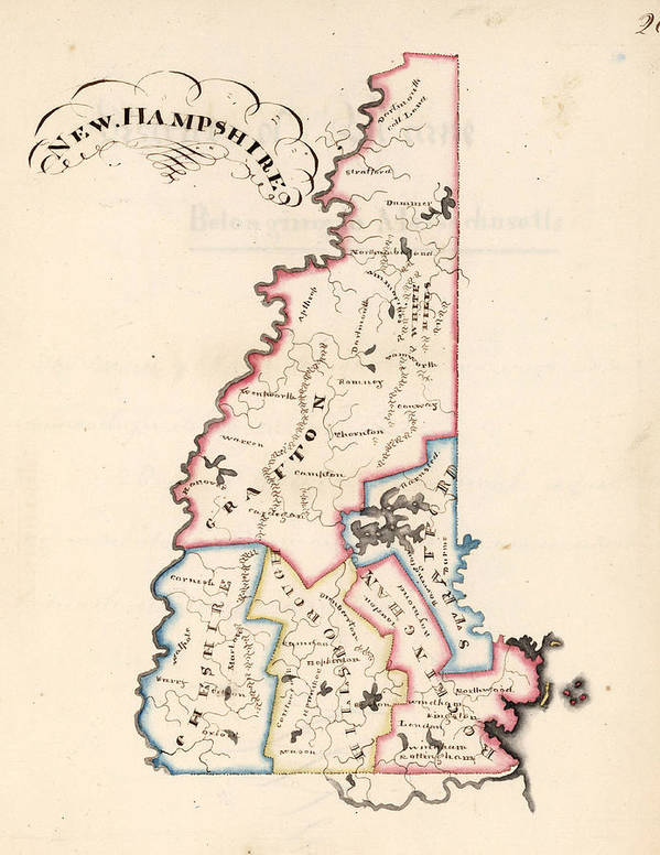 New Hampshire Poster featuring the drawing Vintage Map Of New Hampshire - 1819 by CartographyAssociates