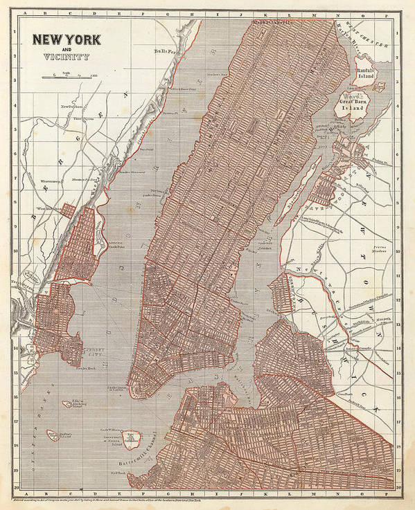 New York City Poster featuring the drawing Vintage Map Of New York City - 1845 by CartographyAssociates