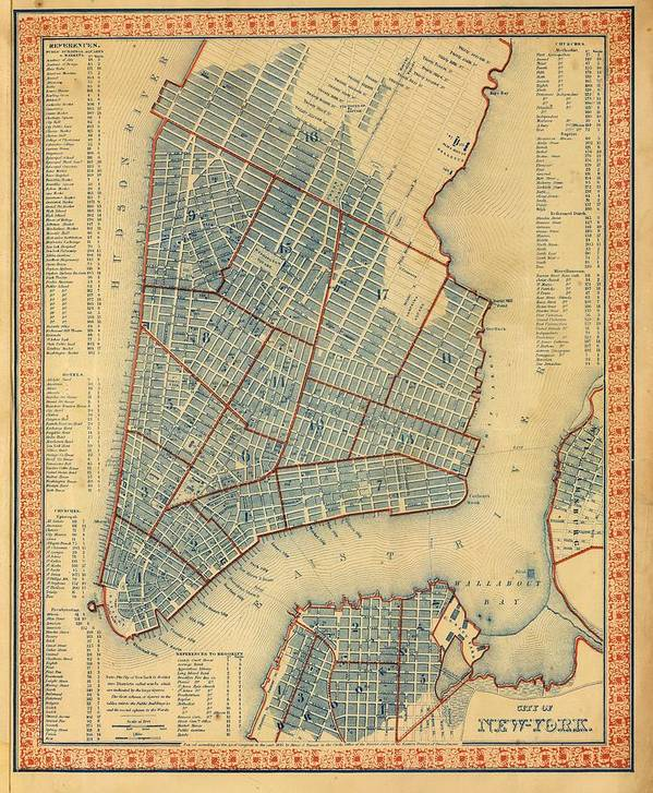 New York City Poster featuring the drawing Vintage Map Of New York City - 1846 by CartographyAssociates