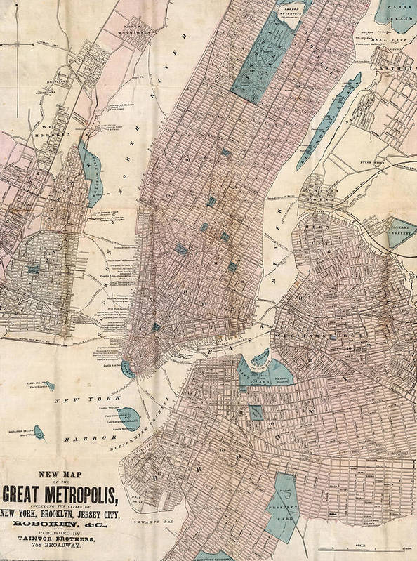 New York City Poster featuring the drawing Vintage Map Of New York City - 1867 by CartographyAssociates