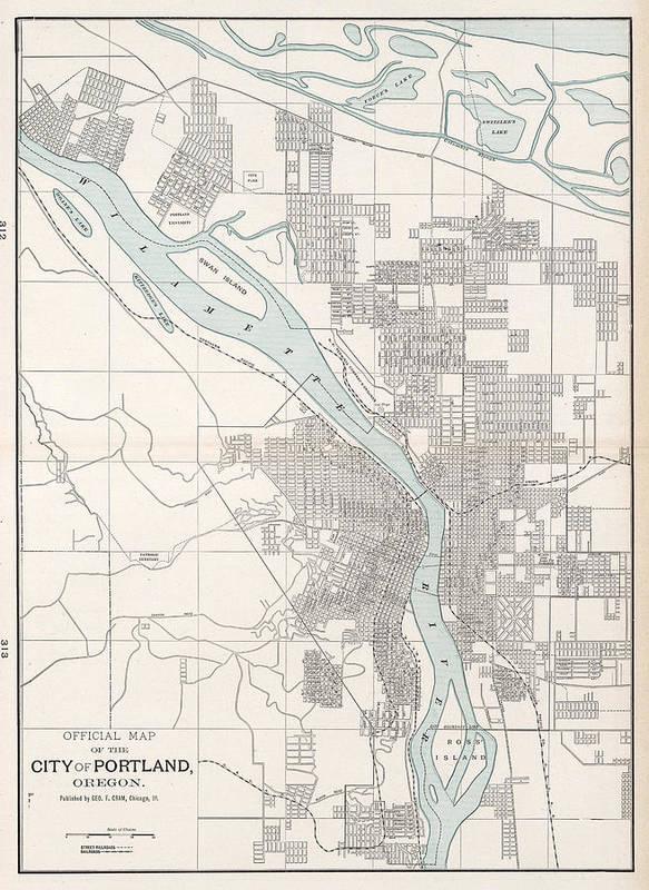 Vintage Map Of Portland Oregon - 1901 Poster by CartographyAssociates