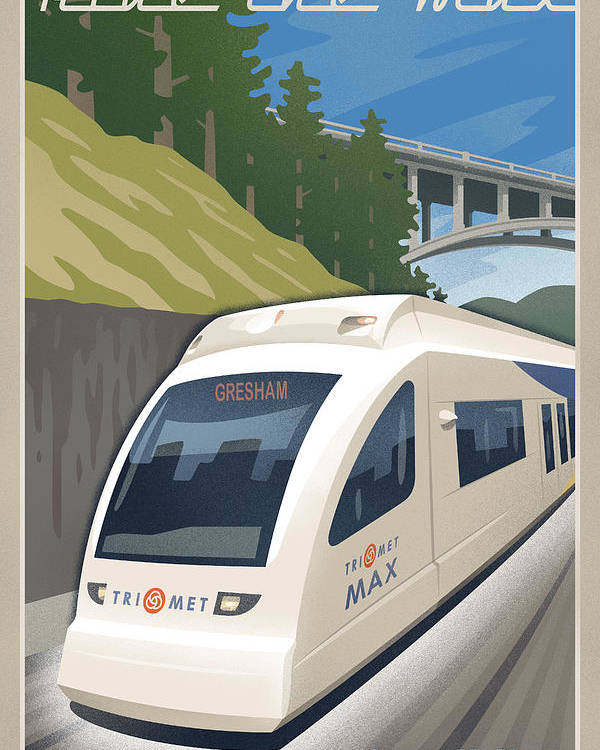 Street Poster featuring the digital art Vintage Max Light Rail Travel Poster by Mitch Frey