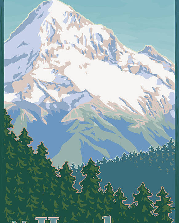 Mount Poster featuring the digital art Vintage Mount Hood Travel Poster by Mitch Frey