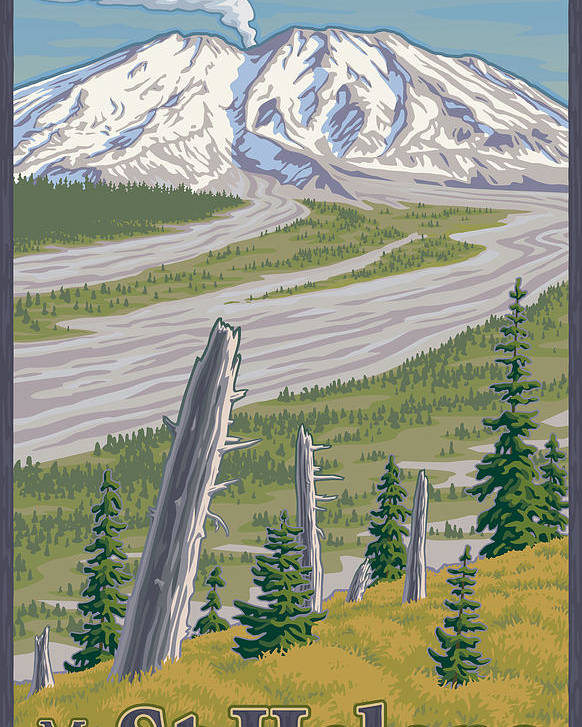 Mount Poster featuring the digital art Vintage Mount St. Helens Travel Poster by Mitch Frey