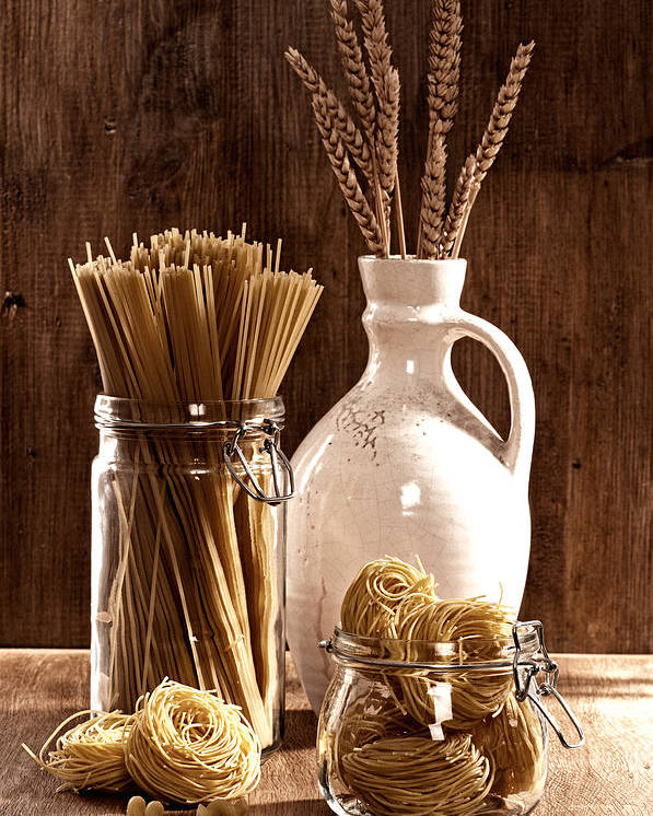 Spaghetti Poster featuring the photograph Vintage Pasta by Amanda Elwell