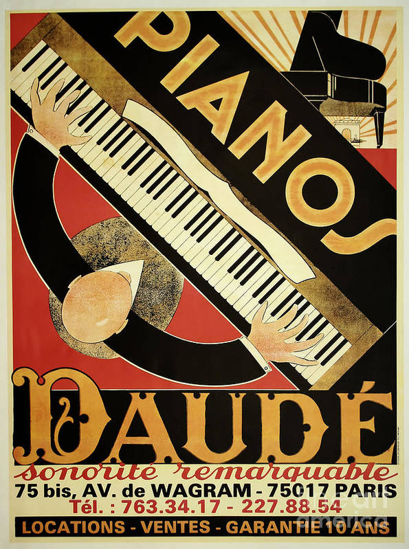Art Deco Posters: Vintage Piano Art Deco Poster By Mindy Sommers
