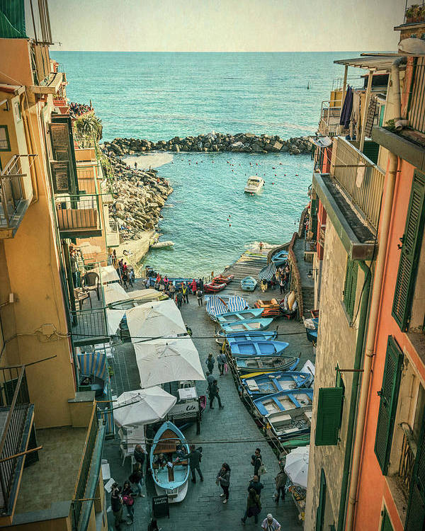 Joan Carroll Poster featuring the photograph Vintage Riomaggiore Cinque Terre Italy by Joan Carroll