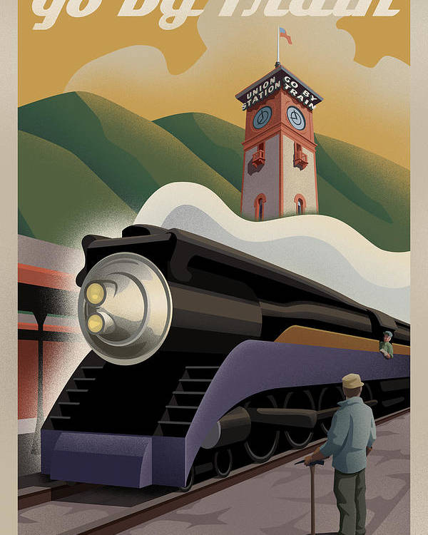Union Station Poster featuring the digital art Vintage Union Station Train Poster by Mitch Frey