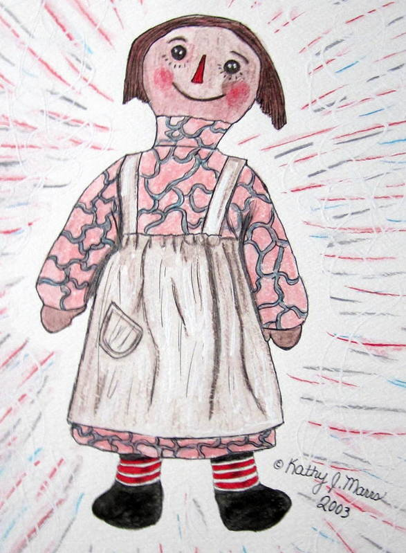 Vintage Poster featuring the painting Vintage Volland Raggedy Ann Cloth Doll by Kathy Marrs Chandler