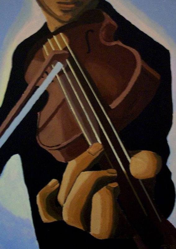 Portrait Poster featuring the painting Violin Player by Mats Eriksson