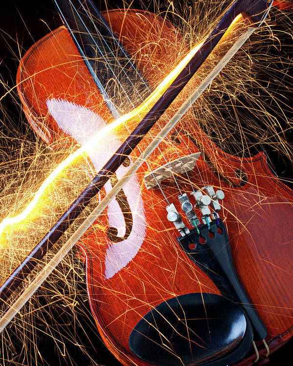 Violin Sparks Flying Bow Music Poster featuring the photograph Violin With Sparks Flying From The Bow by Garry Gay