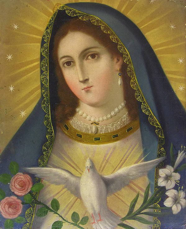 Religion Poster featuring the painting Virgen De La Paloma by Unknown