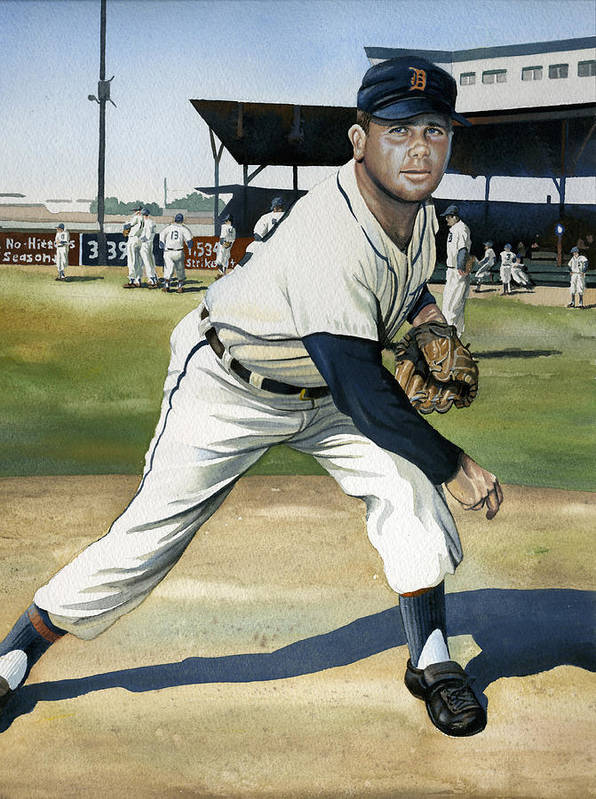 Baseball Poster featuring the painting Virgil Trucks by Rich Marks