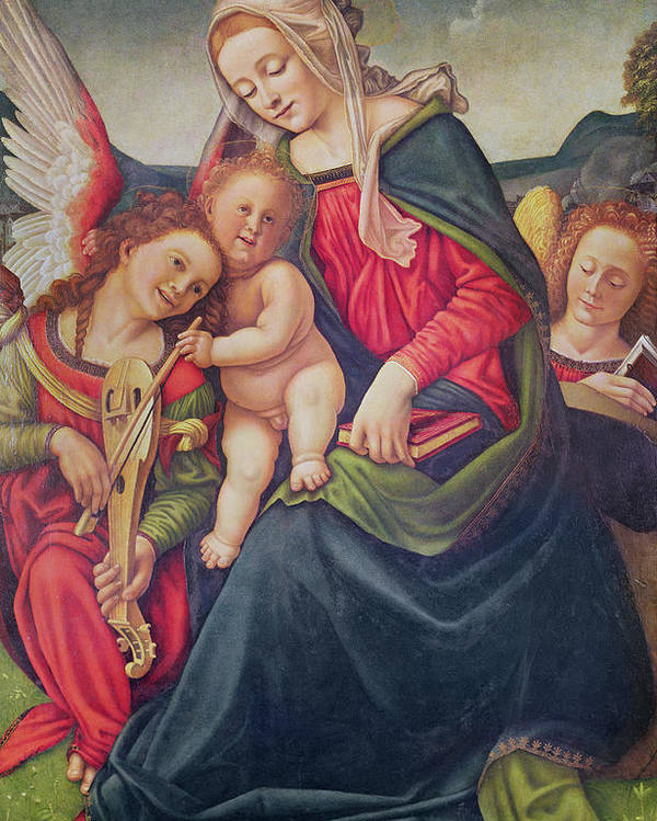 Virgin Poster featuring the painting Virgin And Child And Angel Musicians by Piero di Cosimo