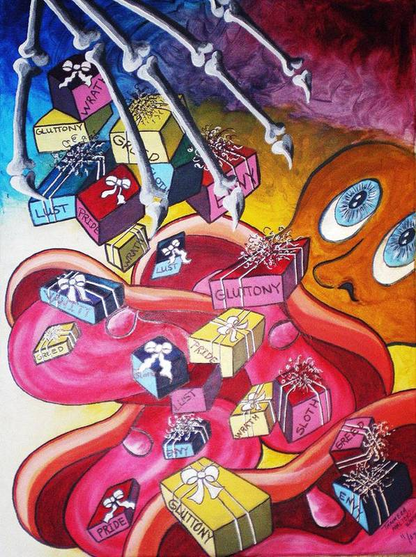 Abstract Poster featuring the painting Vision Of Vices by Tammera Malicki-Wong