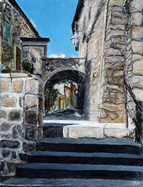 Italy Town Archway Steps Indigo Walls Blue Poster featuring the painting Viterbo Archway by Joan De Bot