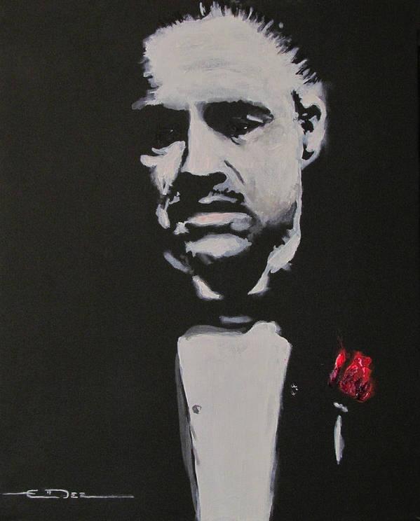 Marlon Brando Poster featuring the painting Vito Andolini Corleone by Eric Dee