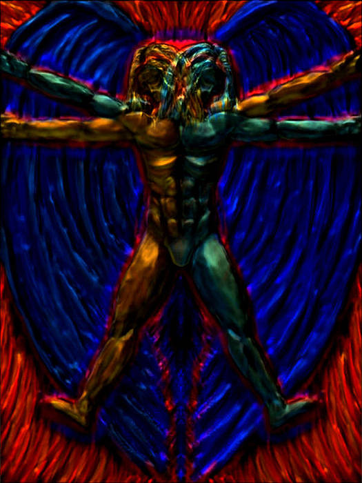 Angel Poster featuring the digital art Vitruvian Angel by Ryan Grant
