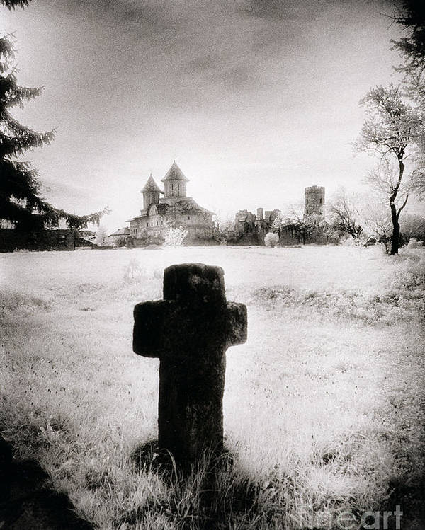 Vampire; Ghostly; Cross; Tombstone; Dracula Poster featuring the photograph Vlad Draculas Palace by Simon Marsden