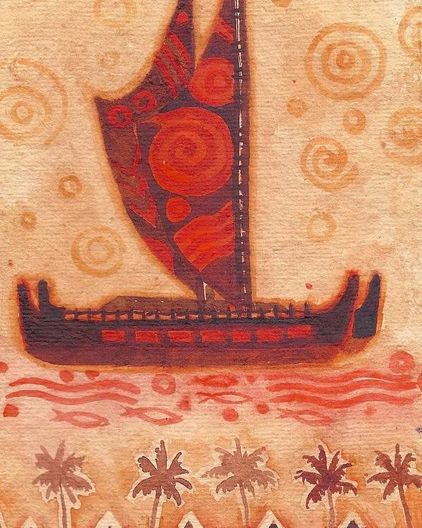 Hokulea Poster featuring the painting Voyaging Canoe 1 by Cynthia Conklin