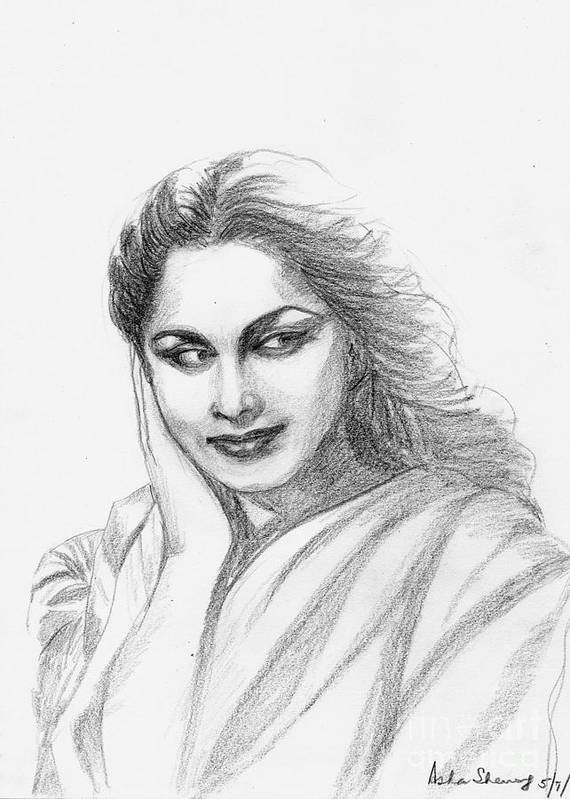 Waheeda Rehman Poster featuring the drawing Waheeda Rehman Bollywood Actress by Asha Sudhaker Shenoy