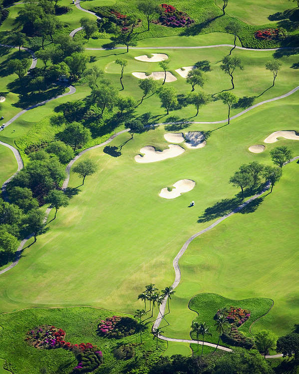 Aerial Poster featuring the photograph Wailea Gold And Emerald Courses by Ron Dahlquist - Printscapes
