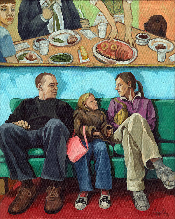 Diner Poster featuring the painting Waiting At The Diner by Linda Apple