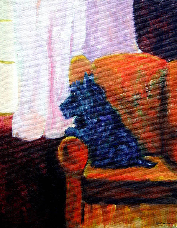 Scottish Terrier Poster featuring the painting Waiting For Mom - Scottish Terrier by Lyn Cook