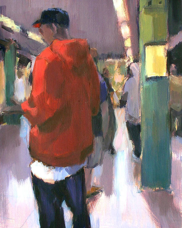 New York Poster featuring the painting Waiting For The Uptown 1 by Merle Keller