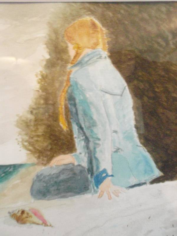 Seascape Poster featuring the painting Waiting by Robby Entrekin