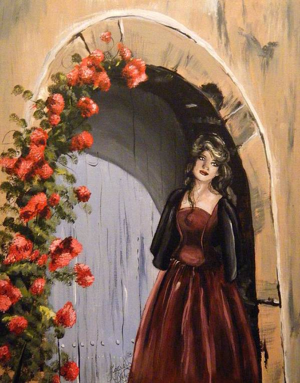 Door Poster featuring the painting Waiting by Scarlett Royal
