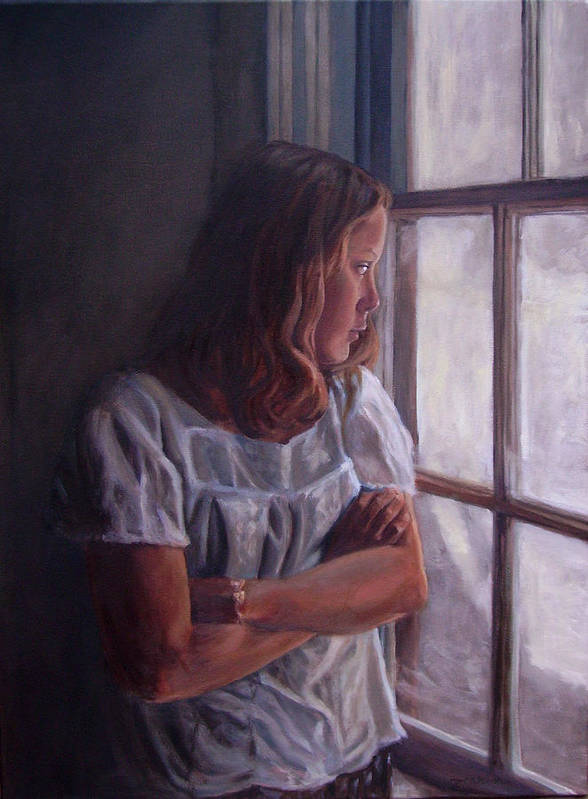 Woman At Window Poster featuring the painting Waiting by Tahirih Goffic