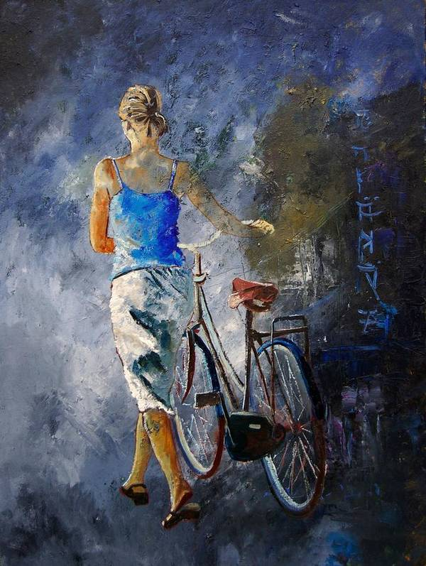 Girl Poster featuring the painting Waking Aside Her Bike 68 by Pol Ledent