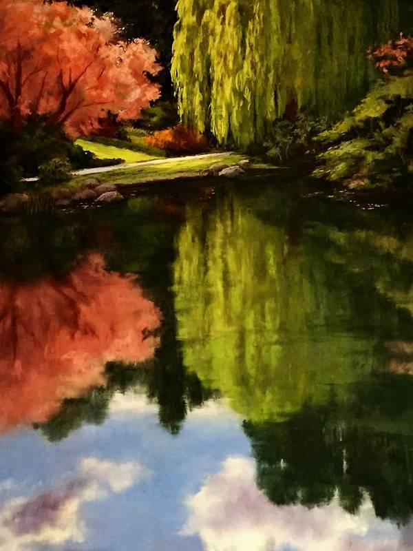 Butchard Gardens Canada Weeping Willow Cherry Tree Water Reflections Sky Sunlight Path Trail Garden Water Lake Pond Nature Poster featuring the pastel Walk In The Gardens by Candice Ferguson