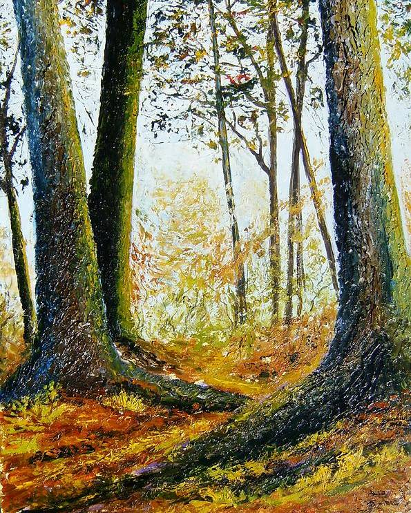 Landscape Poster featuring the painting Walk In The Woods by Tami Booher