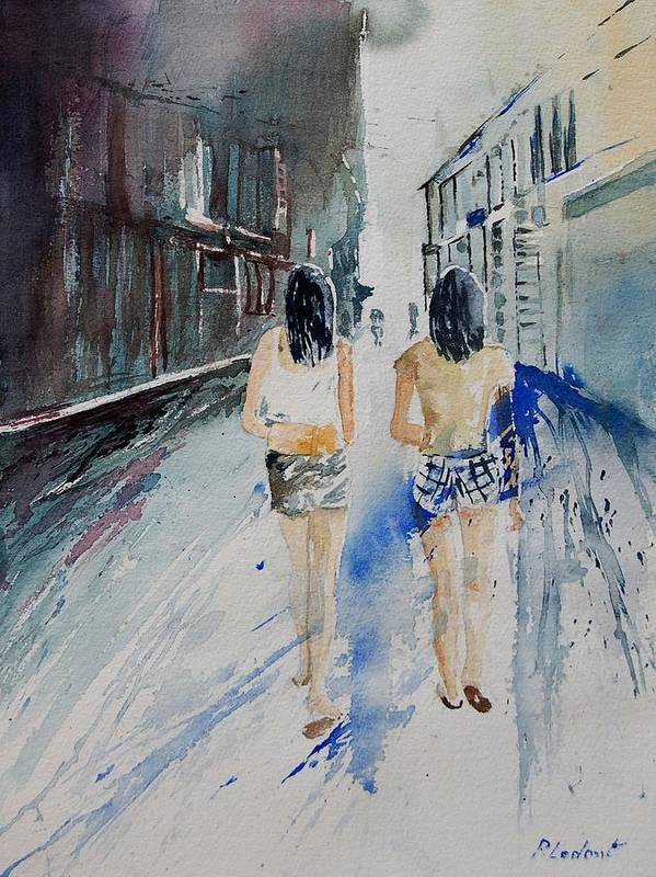 Girl Poster featuring the painting Walking In The Street by Pol Ledent