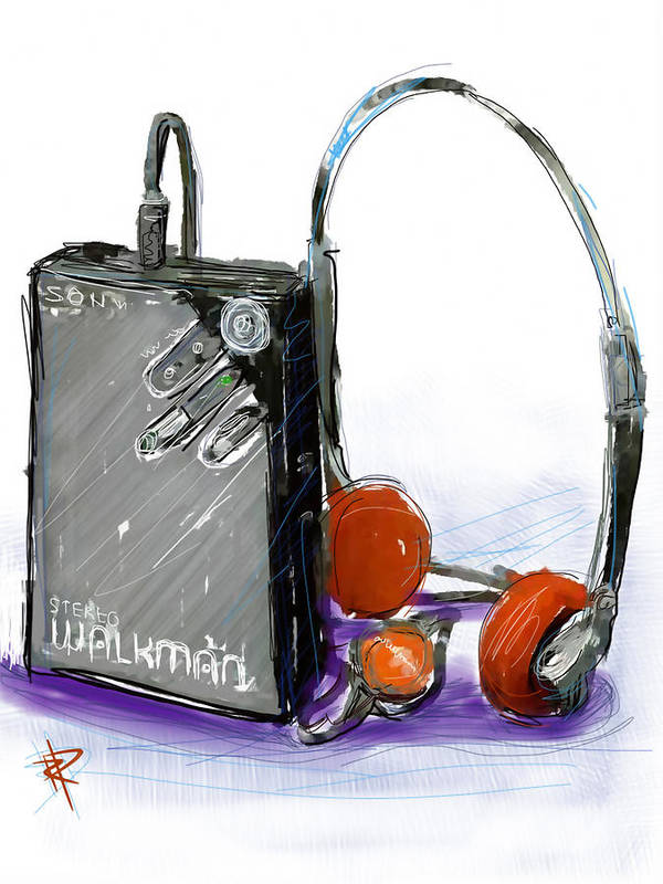 Sony Poster featuring the digital art Walkman by Russell Pierce