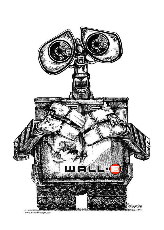 Pen And Ink Poster featuring the drawing Wall-e by James Sayer