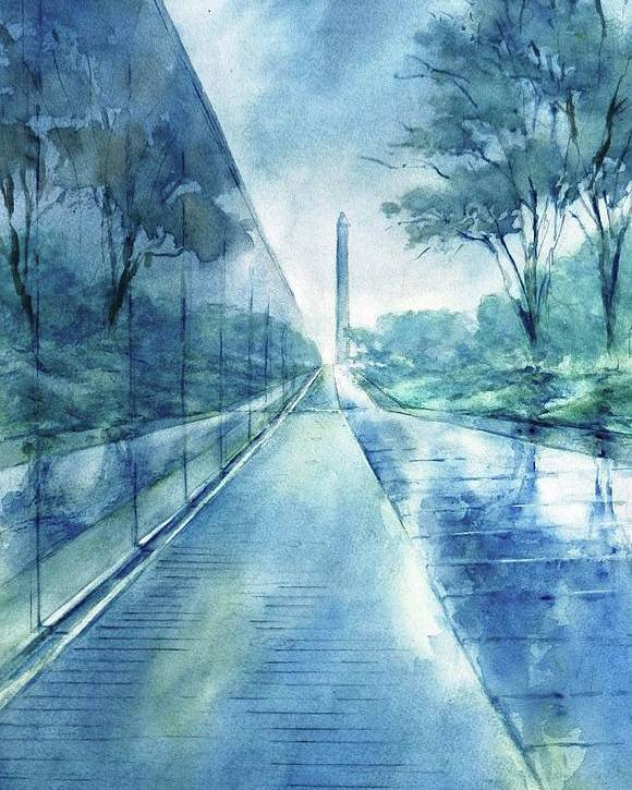 Vietnam Memorial Poster featuring the painting Wall Of Heroes No 2 by Virgil Carter