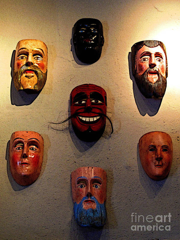 Darian Day Poster featuring the photograph Wall Of Masks 2 by Mexicolors Art Photography