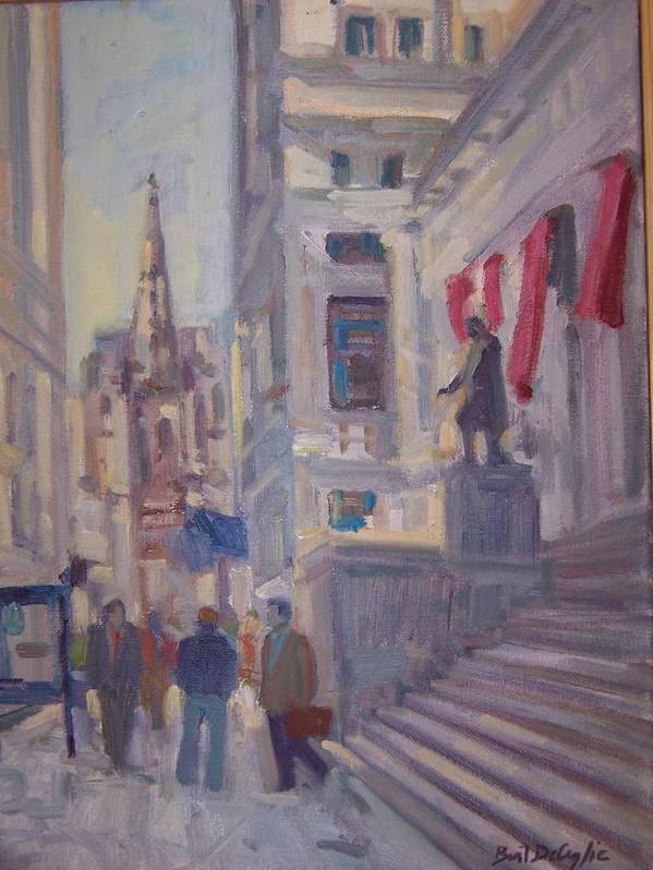 Street Scene Of Wall St.trinity Church Poster featuring the painting Wall St. by Bart DeCeglie