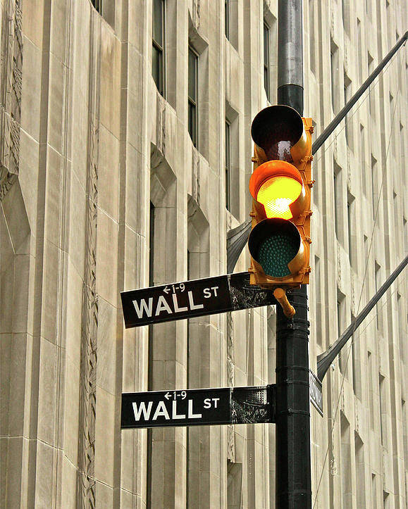 Vertical Poster featuring the photograph Wall Street Traffic Light by Oonat