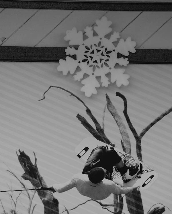 Snow Flake Poster featuring the photograph Wall Surfing With A Snow Flake by Rob Hans