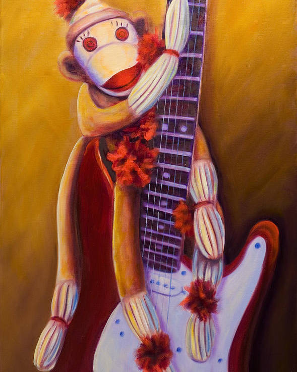 Monkey Poster featuring the painting Wanna Be A Rocker by Shannon Grissom