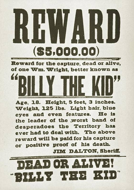 History Poster featuring the photograph Wanted Poster For Billy The Kid by Everett