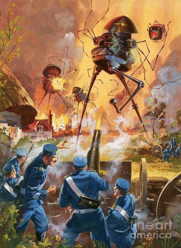 War Of The Worlds; H. G. Wells; H G Wells; Hg Wells. Novel; Literature; Mars; Martian; Invasion; Alien; Space; Science Fiction; Battle; London; Germs; Outer Space; Science Fiction; Soldiers; Cannon; Legs; Book Poster featuring the painting War Of The Worlds by Barrie Linklater