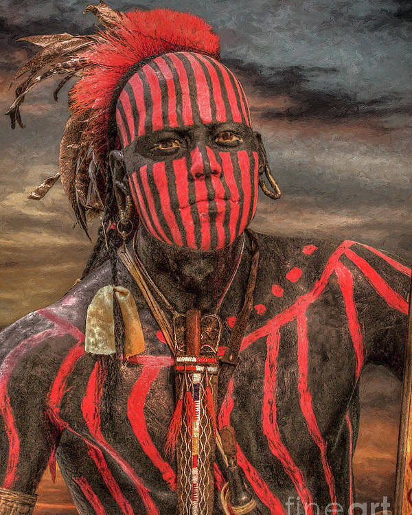 Warrior Poster featuring the digital art Warpath Shawnee Indian by Randy Steele