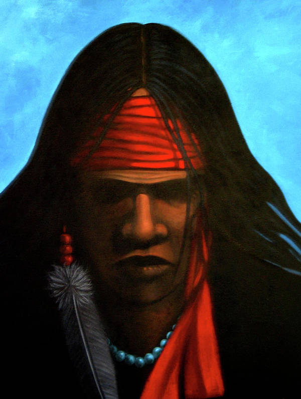 Native American Poster featuring the painting Warrior by Lance Headlee